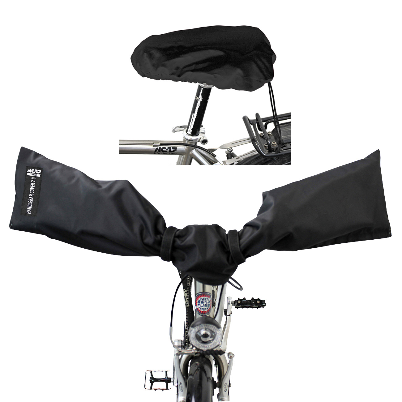 NC-17 Connect Handlebar + Seat Cover 2.0<br/>on size fits all, schwarz<br/>&nbsp;&nbsp;