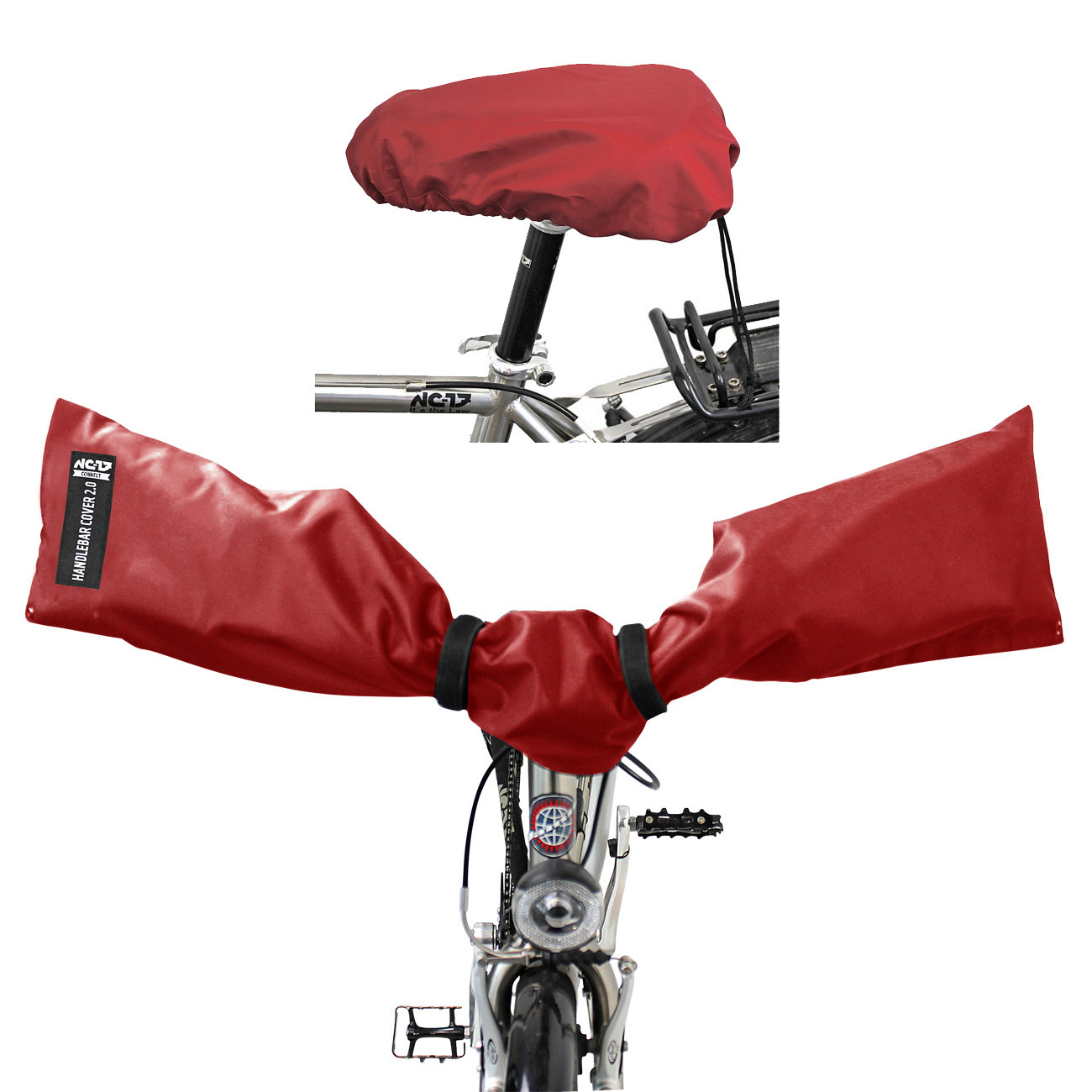 NC-17 Connect Handlebar + Seat Cover 2.0<br/>on size fits all, rot<br/>