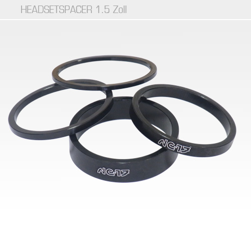 1,5 Zoll Headset Spacer schwarz<br/>Set 2mm, 3mm, 5mm, 10mm<br/>