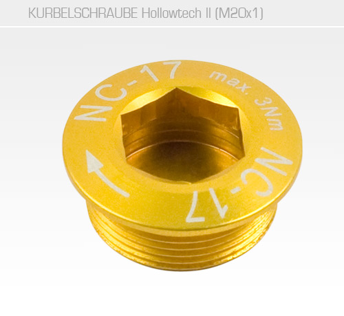 Hollow II M20x1 MTB Kurbelschraube<br/>Set of 1, CNC, AL-7075 T6, gold<br/>