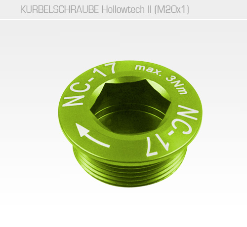 Hollow II M20x1 MTB Kurbelschraube<br/>Set of 1, CNC, AL-7075 T6, grün<br/>