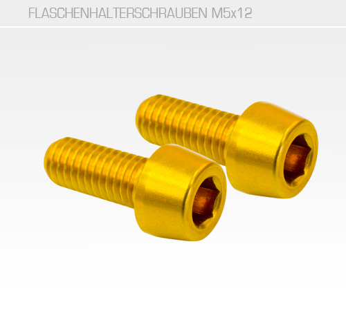Flaschenhalterschraube M5x12<br/>Set of 2, CNC, AL-7075 T6, gold<br/>&nbsp;&nbsp;